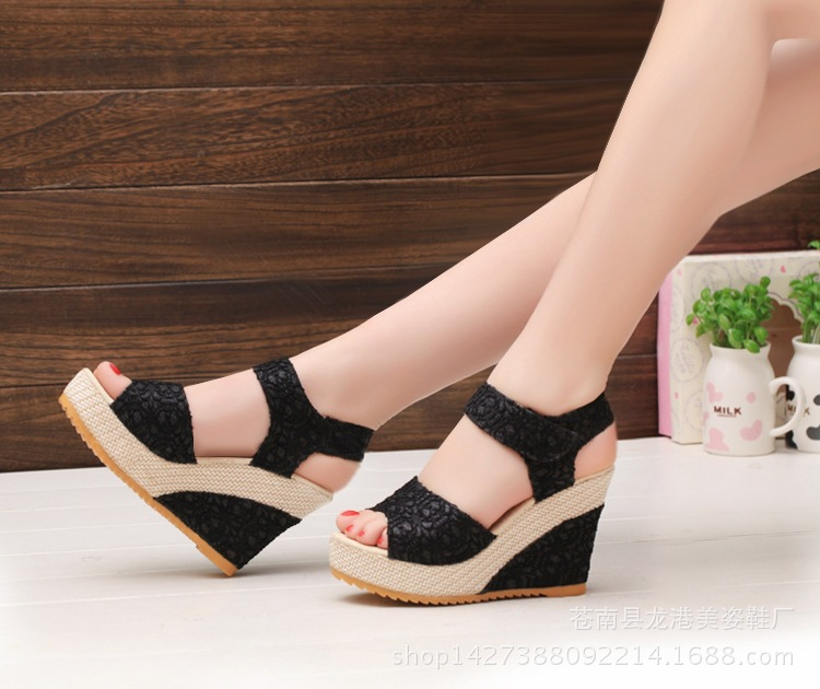 THV FashionWomen 2018 Summer Open Toe Fish High Heels Wedge
