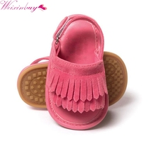 2017 Infant Baby Toddle Baby Girls Shoes PU Leather Tassel Soft Bottom Crib Anti-slip Summer Shoes(China)