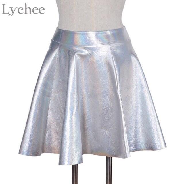 Kpop 2NE1 ДАРА Harajuku галактические женские юбки блестящие металлические лазерные серебристые плиссированные  мини-юбки школьная юбка