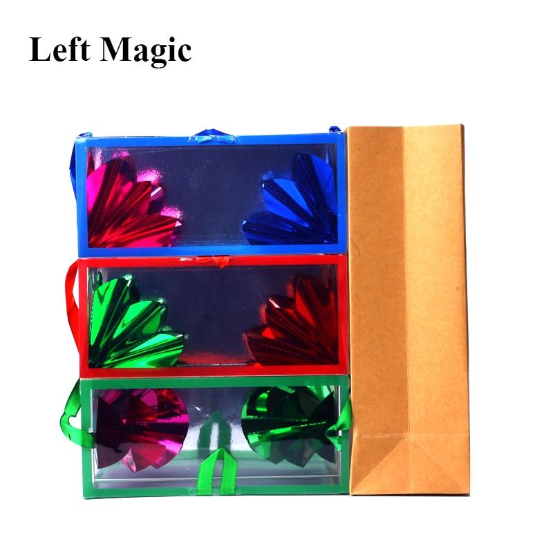 Framträdande blomma tom från boxens magiska tricks (18 x 8,2 x 8,2 cm medelstorlek) papperspåse drömväska illusion scen magiska rekvisita