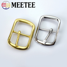 Meetee 40mm Solid Brass Mens Belt Buckle Stainless Steel Pin Womens Jeans Accessories DIY Leather Craft Hardware