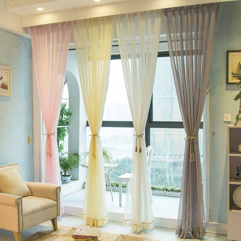 New Europe Mediterranean Solid White Pink Gray Striped Curtains Tulle Thickened Semi Shade Blended Bedroom