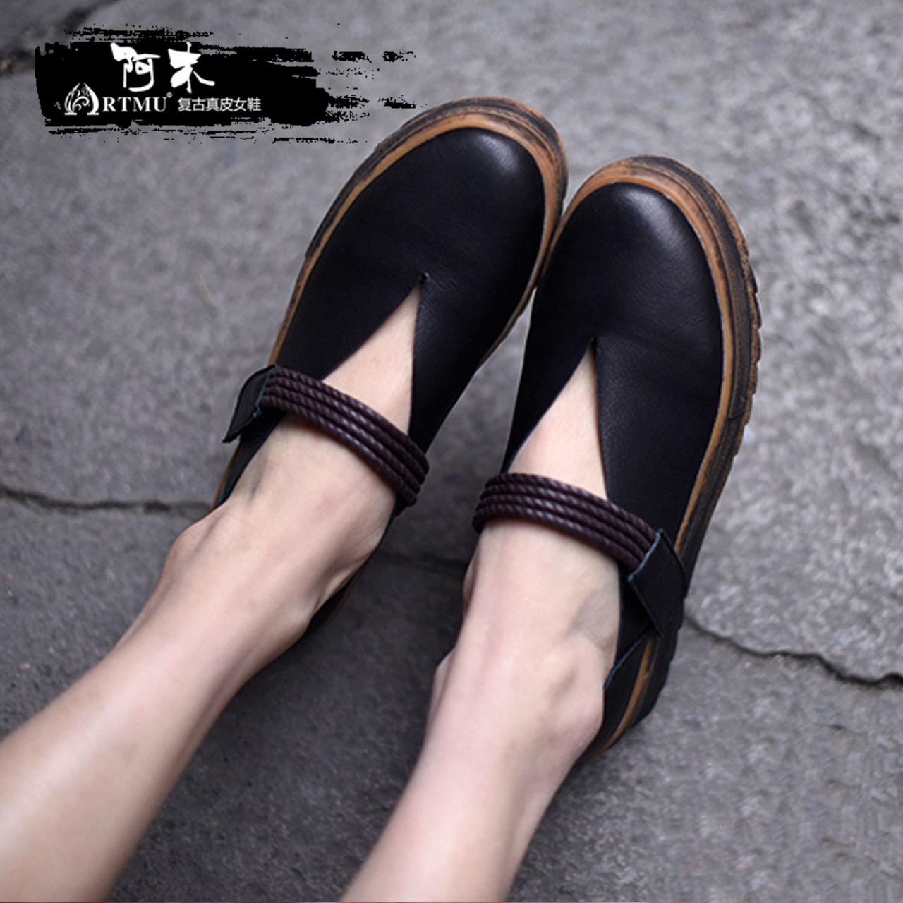 Здесь можно купить  Artmu Original Art Thick Sole Shallow Mouth Women Shoes Spring New Genuine Leather Handmade Platform Flat Shoes 806-6  Обувь