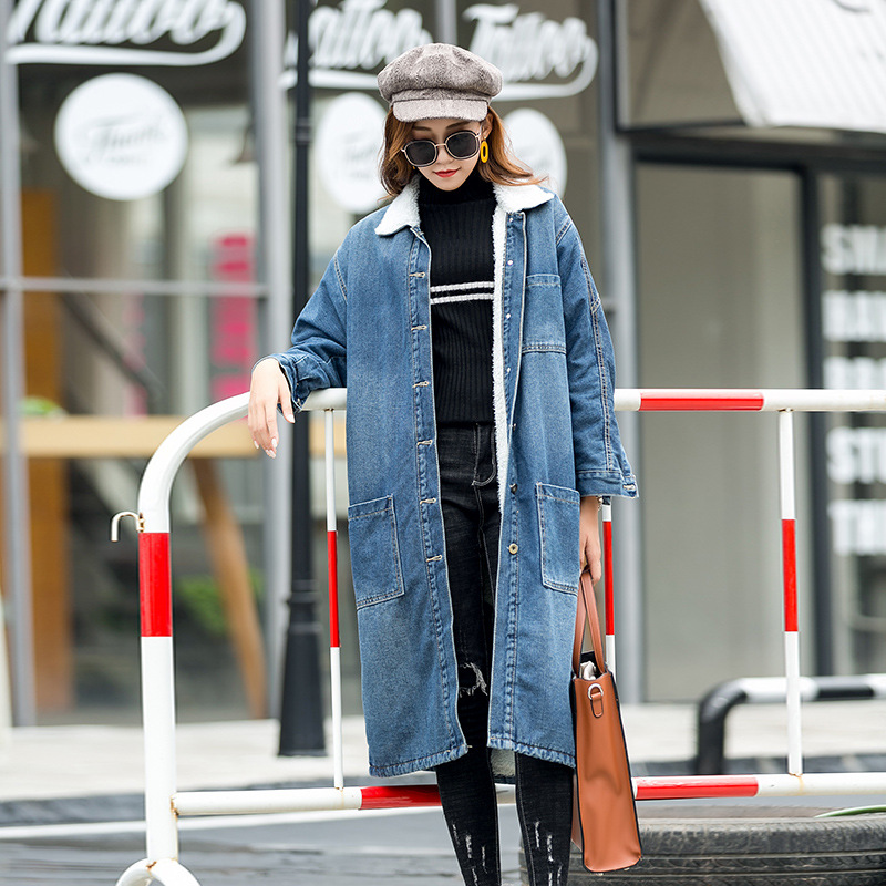 Hot Sale 2018 Women Basic Coat Winter Denim Jacket Women Warm Wool