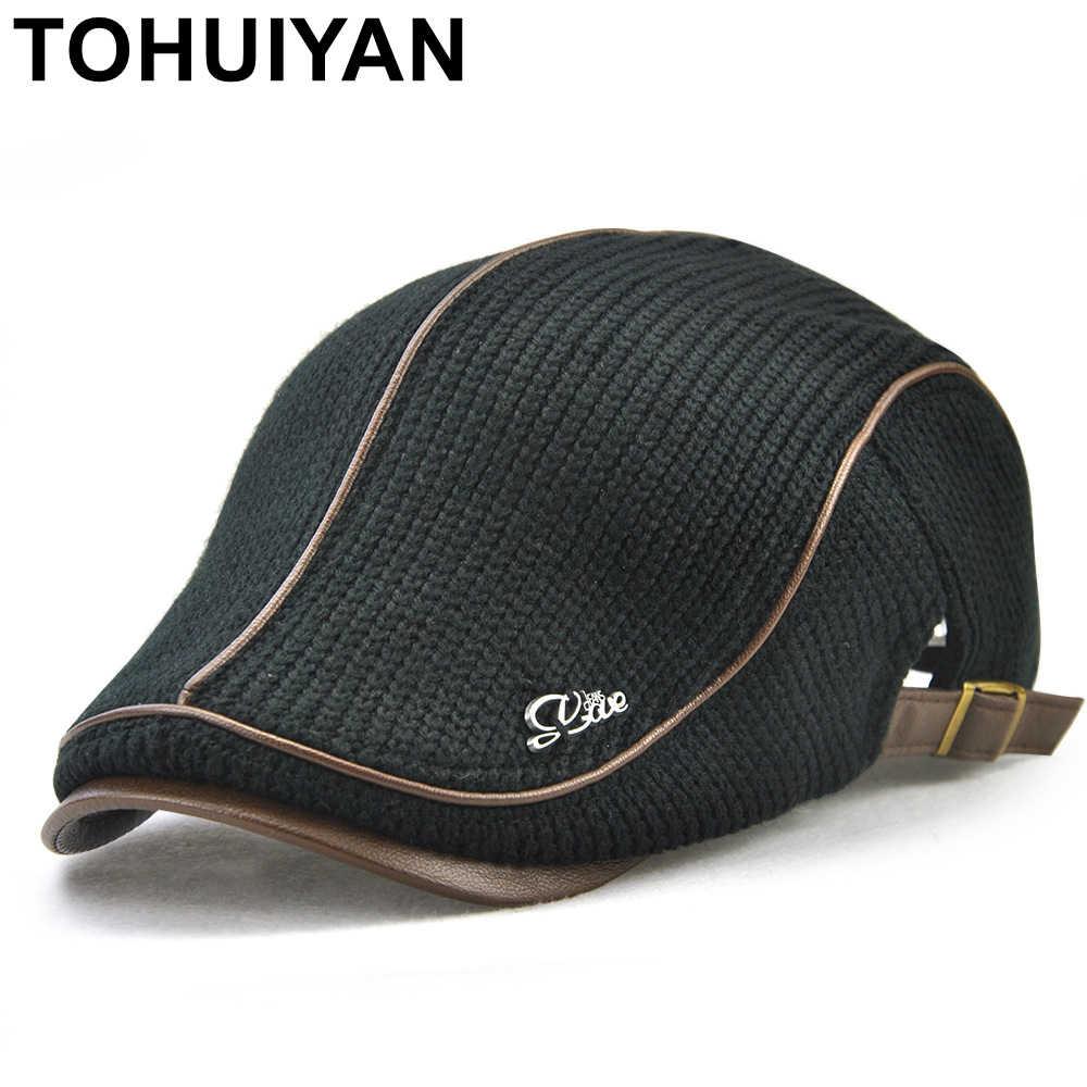 TOHUIYAN Mens Knitted Wool Beret Cap Winter Warm Hat For Male Duckbill  Visor Flat Cap Boina 6a360eab97c3
