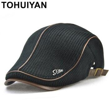 TOHUIYAN para hombre de punto de lana gorra de Boina invierno cálido  sombrero para hombre de pico visera gorra Boina taxista tapas de los hombres  de edad ... f650320b12a