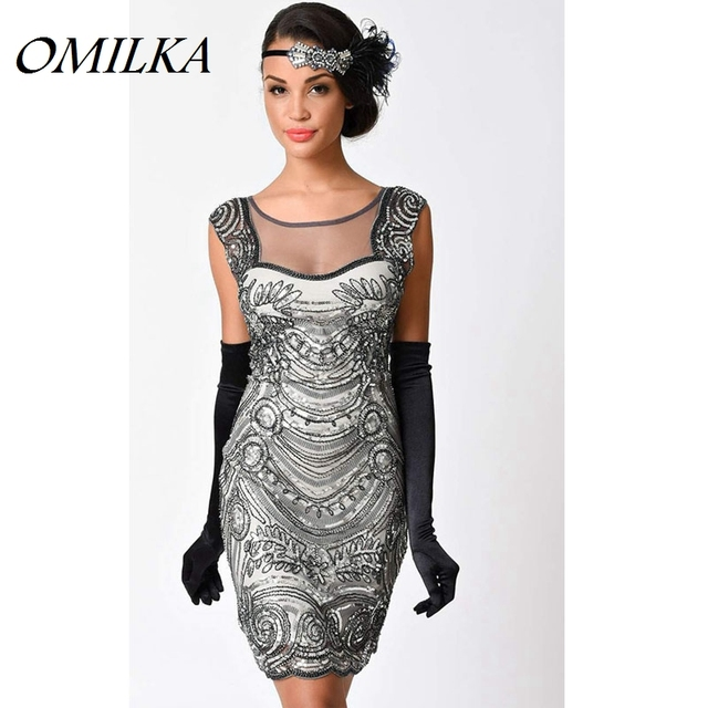 acheter omilka gatsby robe 1920 s vintage dos nu maille robe paillettes or. Black Bedroom Furniture Sets. Home Design Ideas
