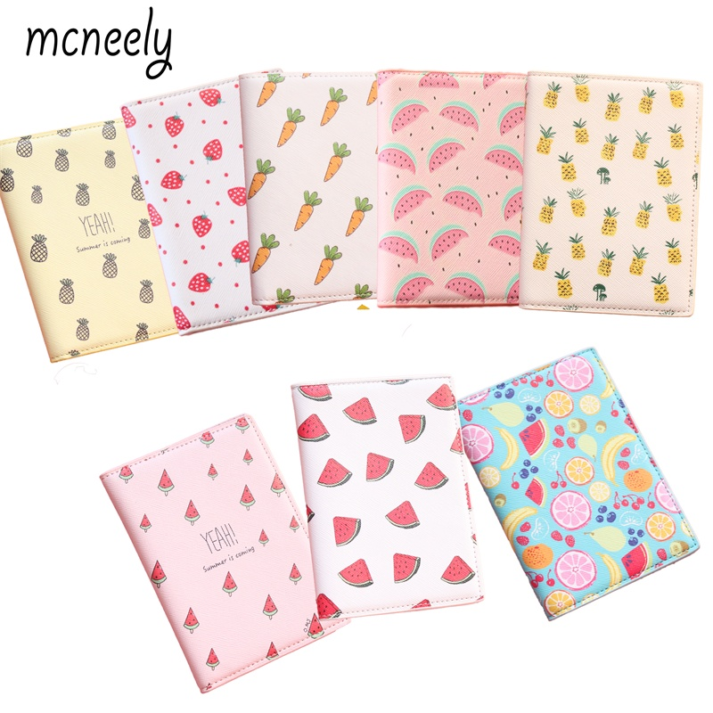 Various Fruit Travel Passport Cover 14*10CM PU Leather Passport holder Credit Card Holder,Card Bag,Business Porte Carte Simple passport cover porte cardholder carte card case travel wallet business id bolsa new credit card holder bag pu leather carteira