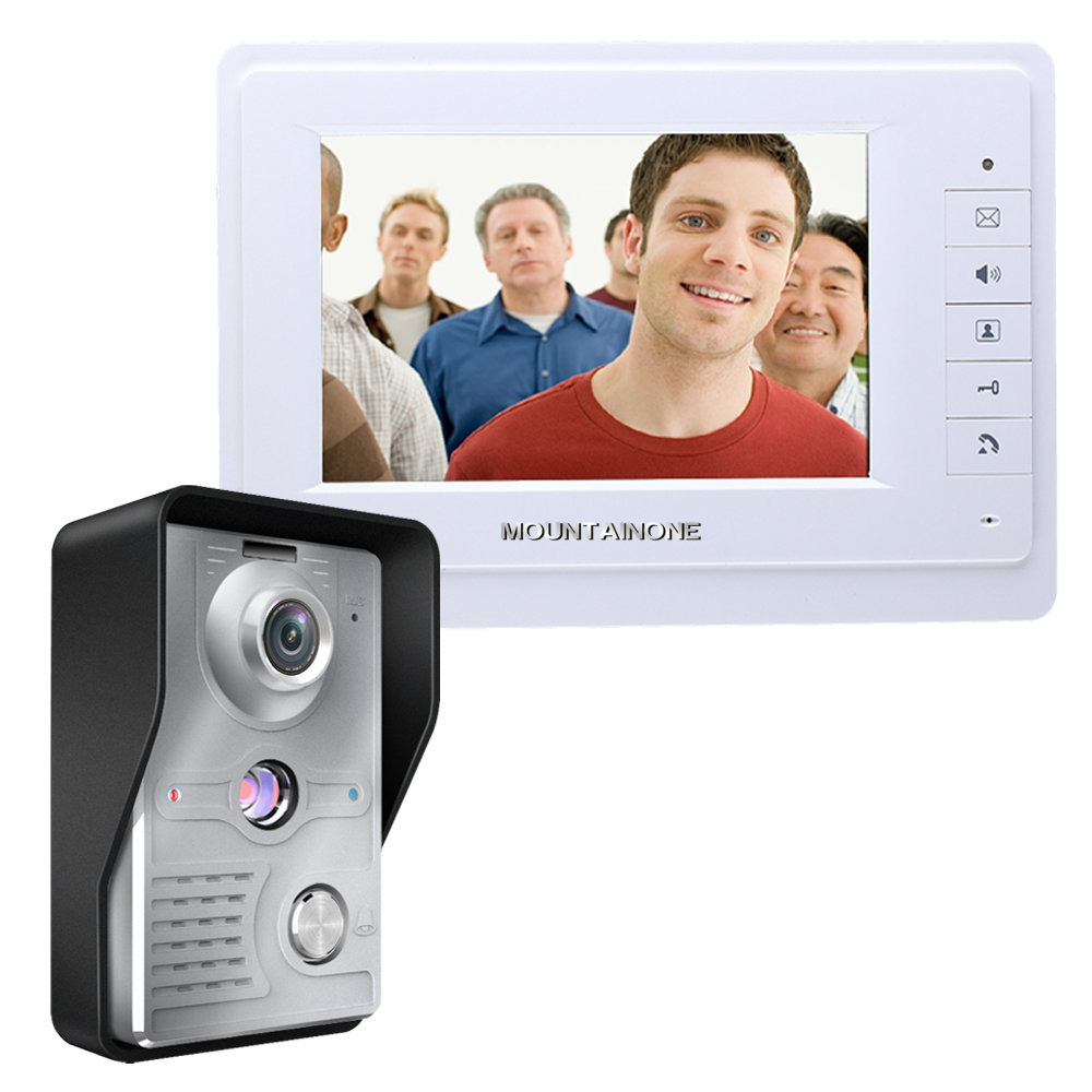 FREE SHIPPING 7 Inch Weatherproof Video Door Phone Doorbell Intercom Kit 1-camera 1-monitor Night Vision 700TVL Video Intercom
