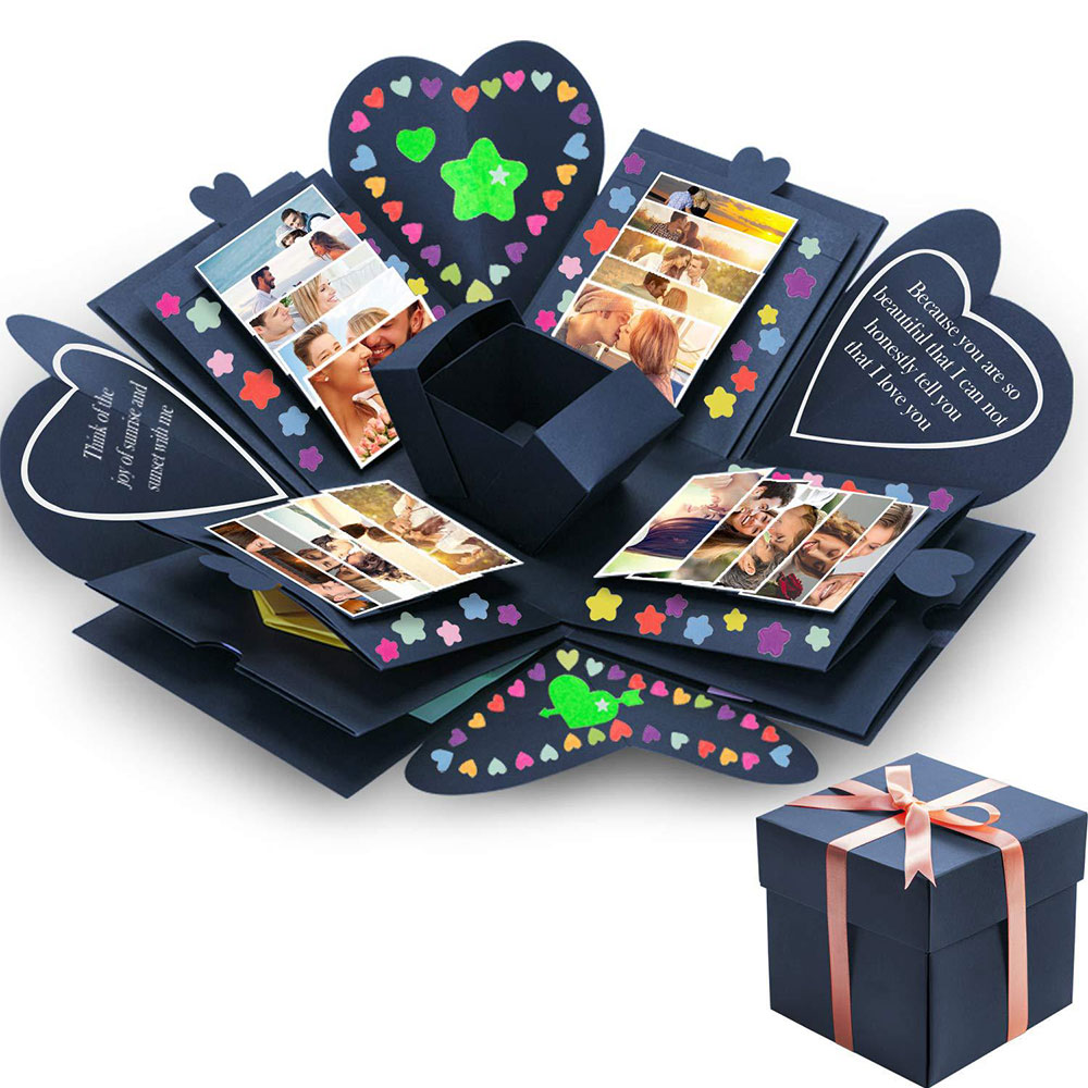Quadrilateral surprise explosive box diy handmade creative album couple gifts 2019 new style image