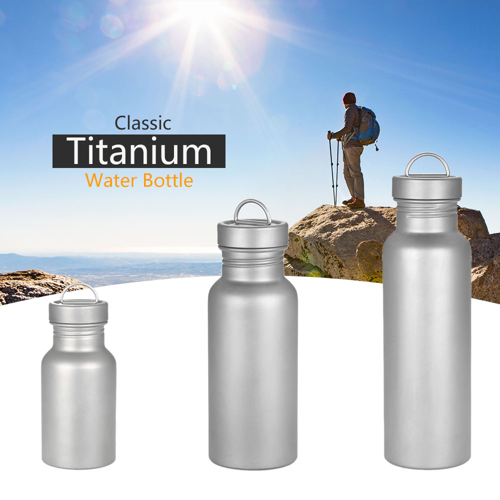 700ML Wide Mouth Bottle Titanium Water Bottle for Outdoor Camping Hiking Picnic