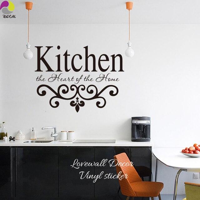 US $8.99 10% di SCONTO|Cucina I Cuori Di Casa Preventivo Wall Sticker  Cucina Lettering Sign Decalcomania Della Parete Fiore Taglio Vinile Della  ...