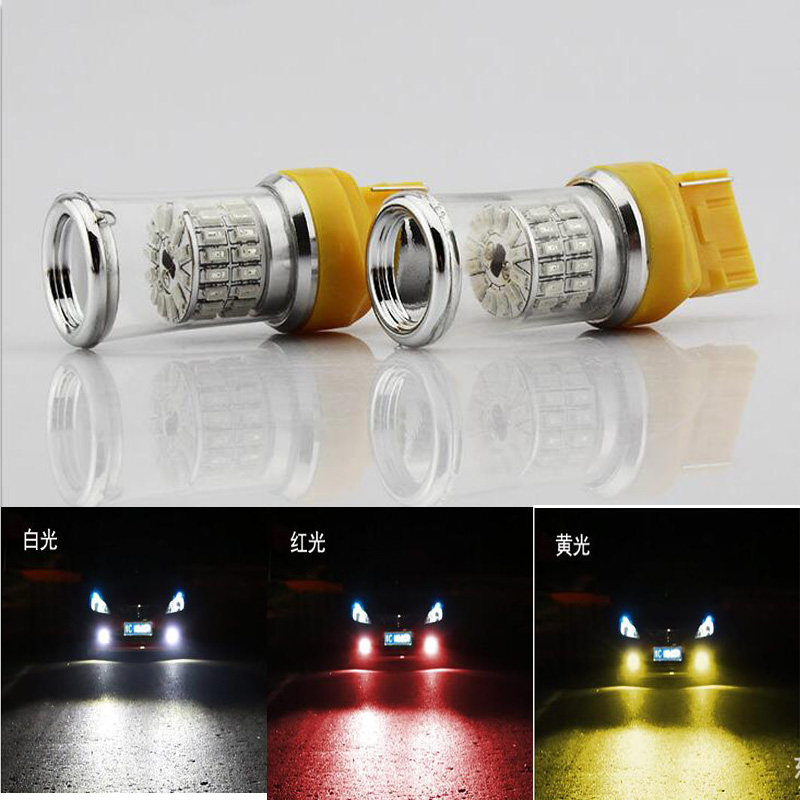 2x W21/5 Вт 48smd 3014 чип автомобилей Хвост Светодиодные лампы Тормозные огни для автомобиля T20 туман лампы дневного Бег Light 7443 сзади Освещение белы...