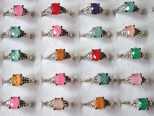 New wholesale jewelry mixed lots 10pcs cat-eye silver plated wedding rings jewelry
