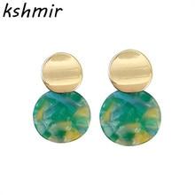 Fashionable retro metallic acetate plate earrings 2018 Womens eardrop circular geometry Earrings wholesale
