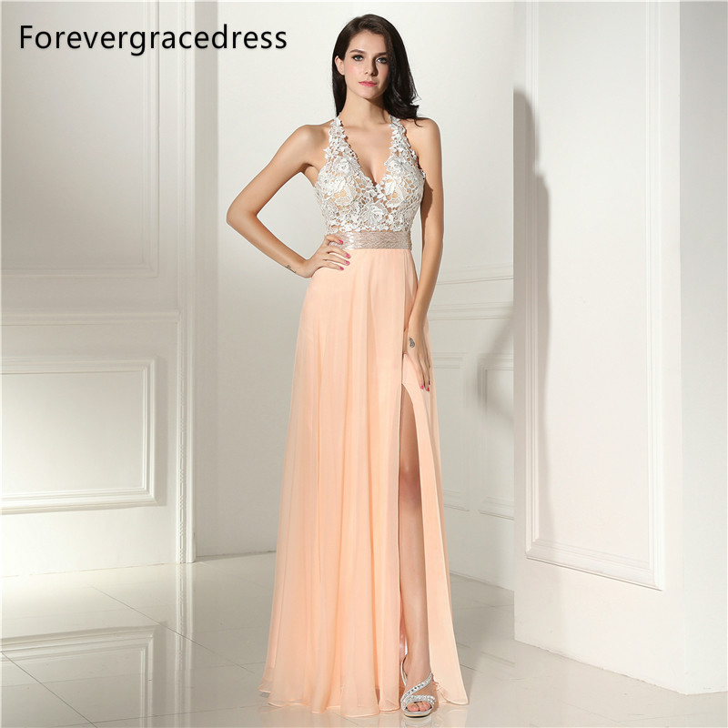 Forevergracedress Sexy Halter   Prom     Dress   Gorgeous Lace Chiffon Long Backless Sleeveless Formal Party Gown Plus Size Custom Made