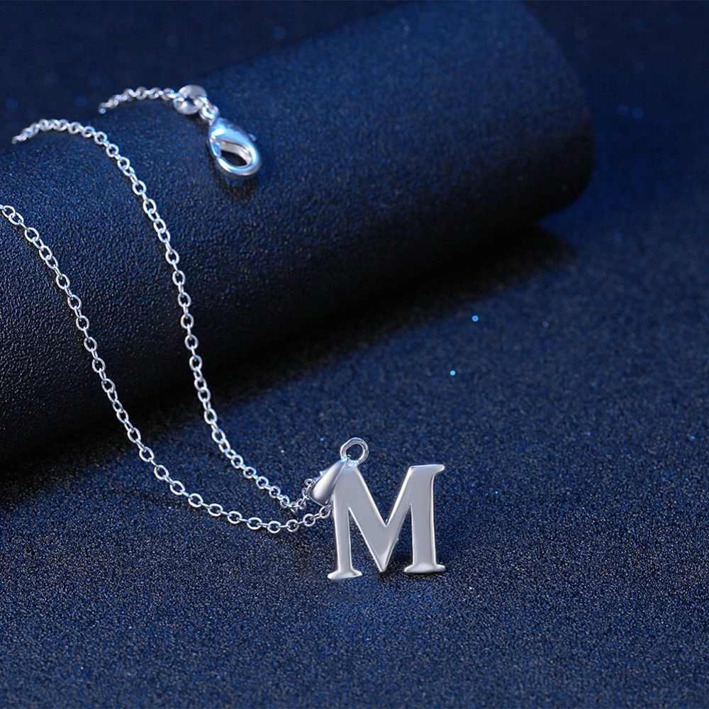 497585c58ec2 Capital inicial A B C D E F G H I M Z carta Collar para las mujeres de  Color plata alfabeto colgante y cadena nombre joyería regalo para ella