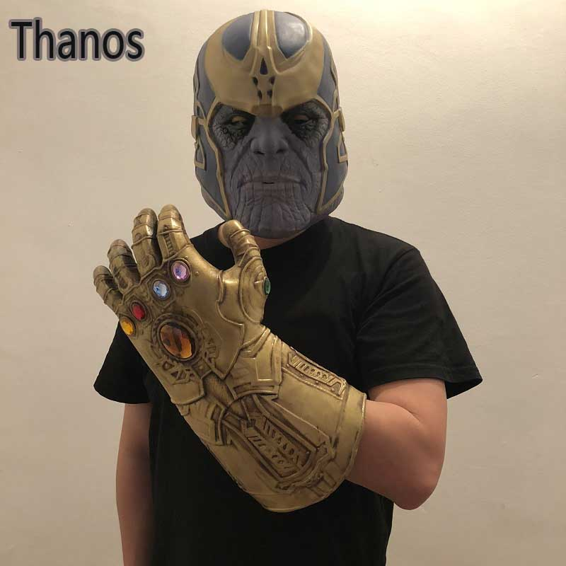 Avengers Infinity War Cosplay Thanos Gloves Fullface Mask Toys Halloween Party Thano Helmet Gants Jouet Gift Props Dropshipping