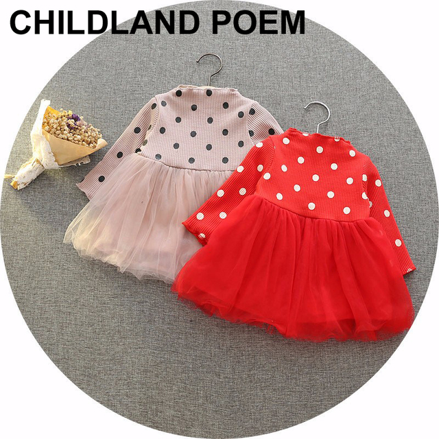 Nuevo otoño bebé infant baby girl dress dress de manga larga lindo dots tutú de la princesa del bebé de navidad wedding party dress vestidos