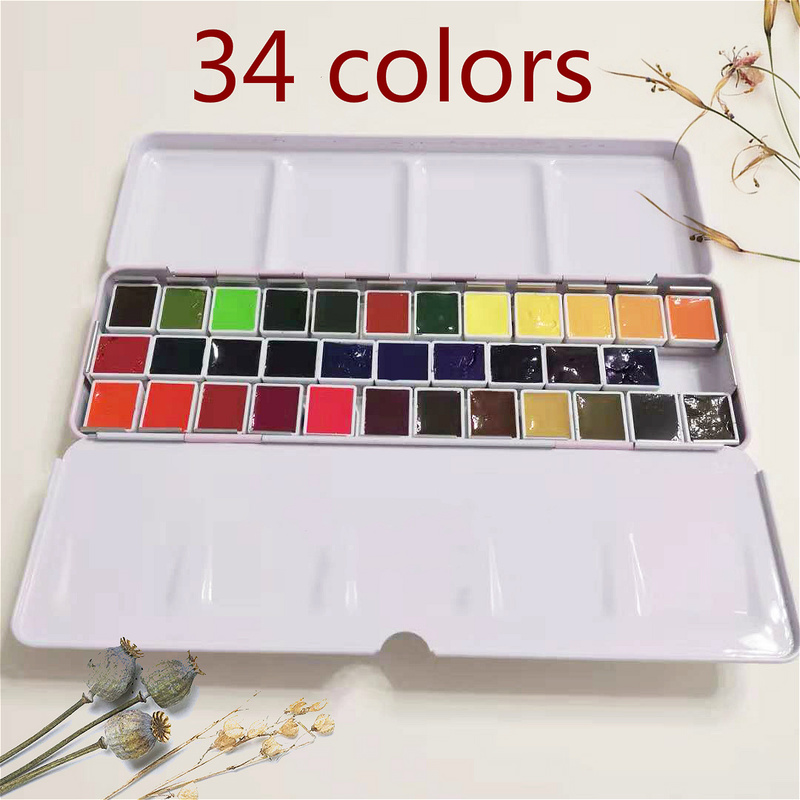 34 Colors Dispensing Watercolor Master High Concentration Pure Golden Mission Natural Pigment Watercolor