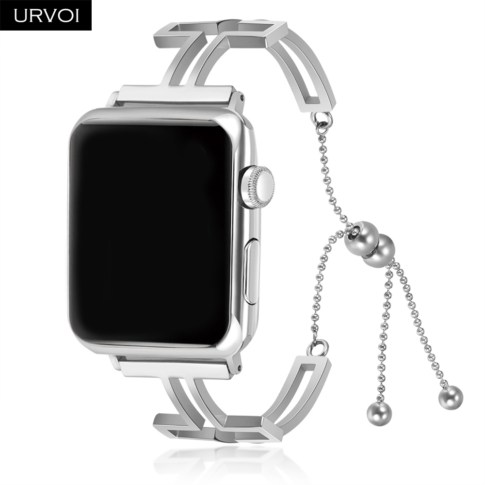 URVOI Strap for Apple Watch cuff girl fashion wrist band cross-shaped chain stainless steel bracelet for iWatch series 4 3 2 1 цена
