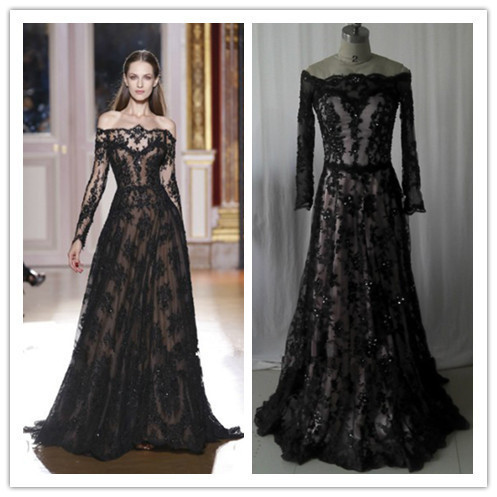 e0bd3a95248 Hot Sale Long Sleeve Evening Dress 2016 New Arrival Zuhair Murad Off  Shoulder Black Lace Prom Gowns New Arrival ZY0102