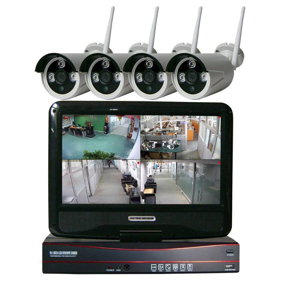 4CH Surveillance System 10 LCD Screen Wireless NVR Kit 1TB HDD P2P 720P HD Outdoor IR WIFI IP Camera