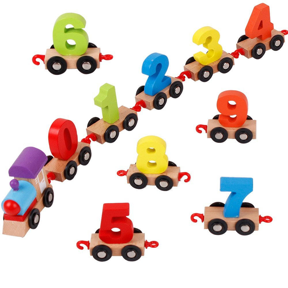 Mini Digital Train Wooden Alphabet Number Educational Toys Christmas gift Railway Tools For Kids