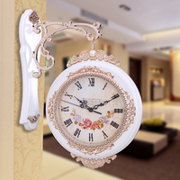 European creative wall clock sitting room two clock Double wall clocks Large super modern mute white brown color wall world