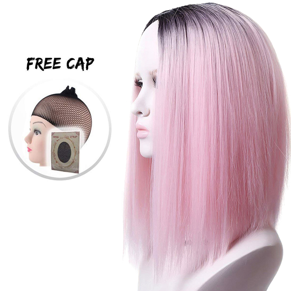 Pageup Ombre Bob Synthetic Wigs For Women African American Ladies High Temperature Fiber Heat Resistant Short Cosplay Pink Wig (8)