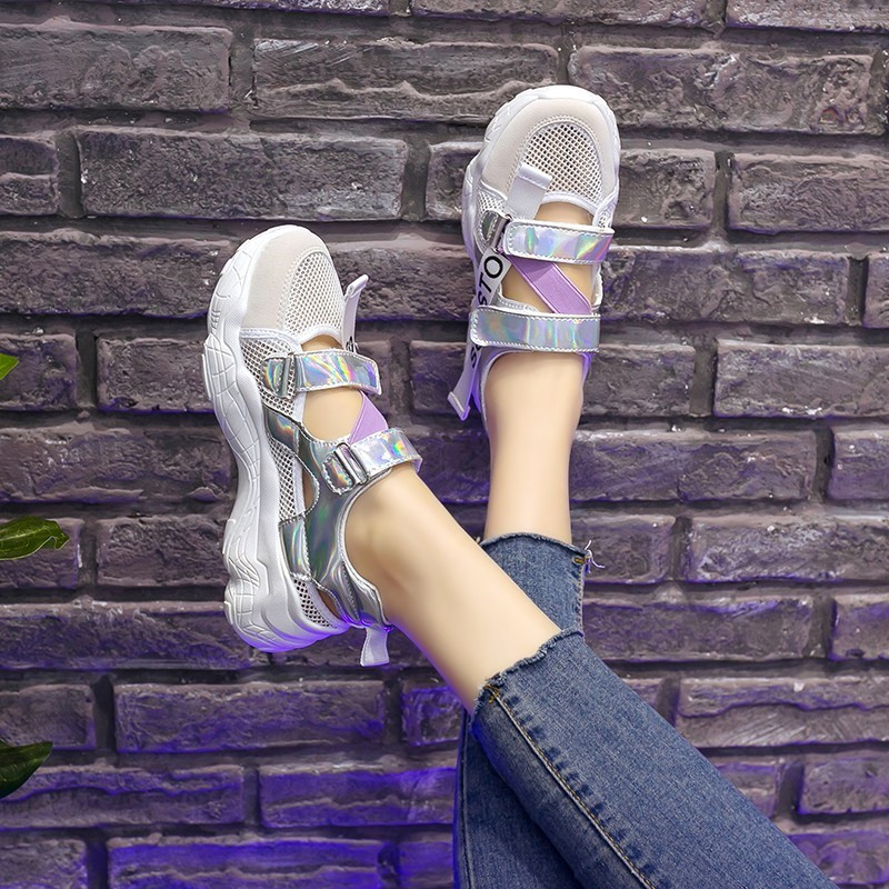 HKCP 2019 versatile summer European and American thick bottom casual shoes round head versatile sandals lady C379 in Middle Heels from Shoes