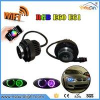 送料無料1セット2*12ワット24ワット無線lan制御ledマーカー天使の目白/青/赤/黄rgbw用bmw 5シリーズe60 e61 lci