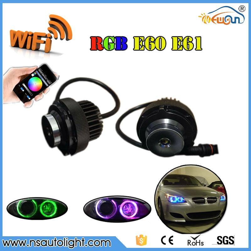 Livraison gratuite 1 Set 2*12 W 24 W WIFI contrôle indicateur LED Angel Eyes blanc/bleu/rouge/jaune RGBW pour BMW série 5 E60 E61 LCI
