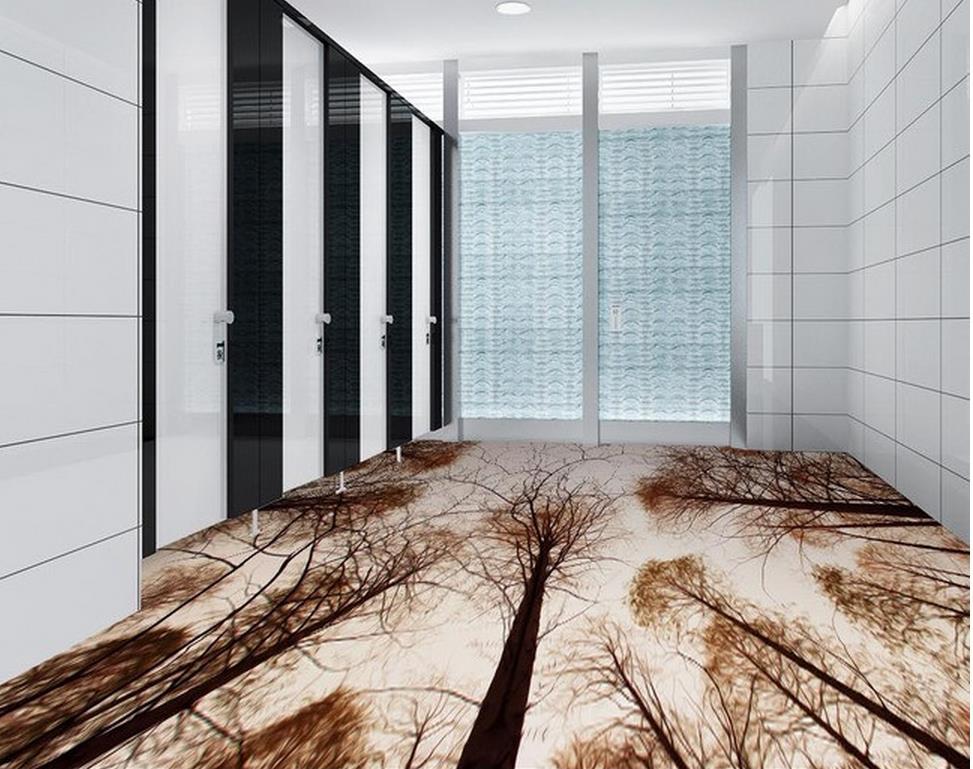3d Wallpaper Waterproof Bathroom Floor Living Room Woods