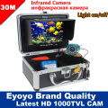 "Eyoyo Original 30M 1000TVL Underwater Fishing Camera Fish Finder 7"" Monitor 12pcs Infrared IR LED+ Free AntiSunshine Sunvisor"