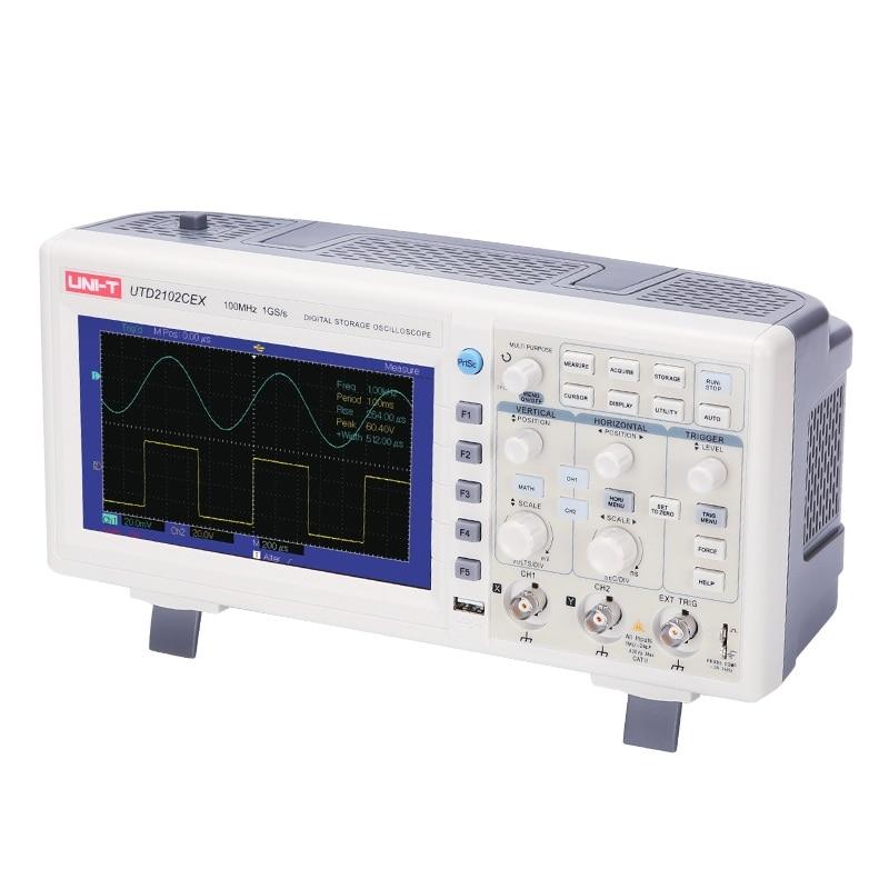 Haute Précision UNI-T UTD2052CEX/UTD2102CEX Digital Storage Oscilloscopes 2 Canaux 100/200 mhz 1Gs/un Scopemeter 7 pouces LCD