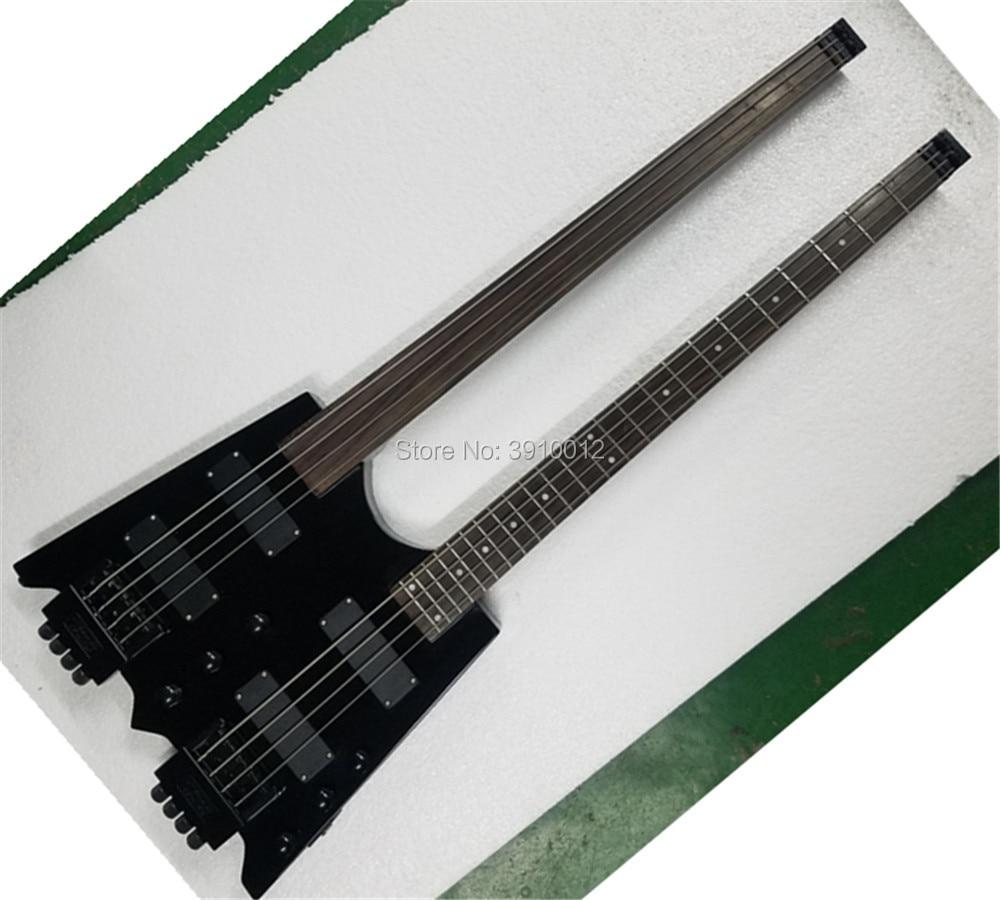Guitare sans tête noire de qualité supérieure Double cou, guitare basse électrique 4 cordes, guitare steinberg noire de qualité supérieure