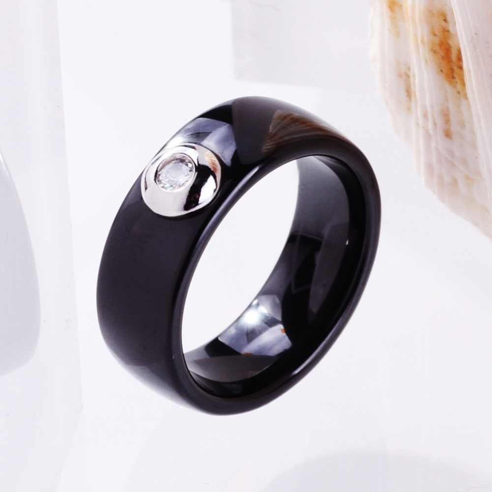 שחור לבן קרמיקה טבעות גברים נשים 8mm גבוהה פולני נקבה טבעות גדול קריסטל מעוקב זירקון חתונת אירוסין בנד