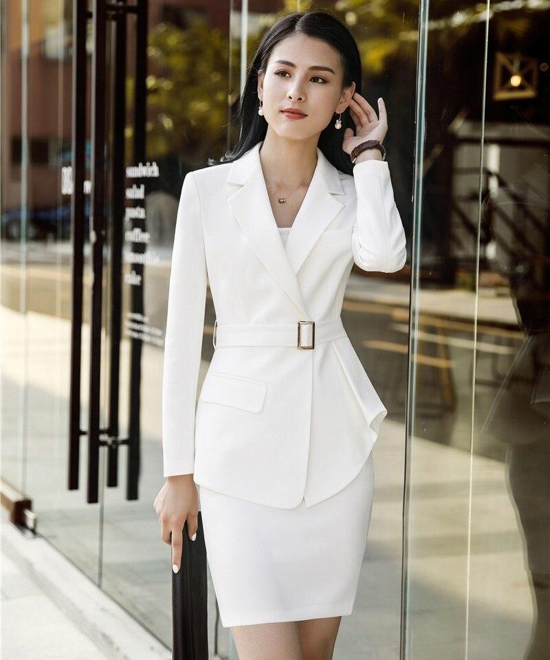 White Bureau Et Costumes Avec Dames Élégant Formelle black Professionnel Blazers Blanc D'affaires Ensembles Uniforme Blazer Work Styles Jupe Wear RRT8B7q
