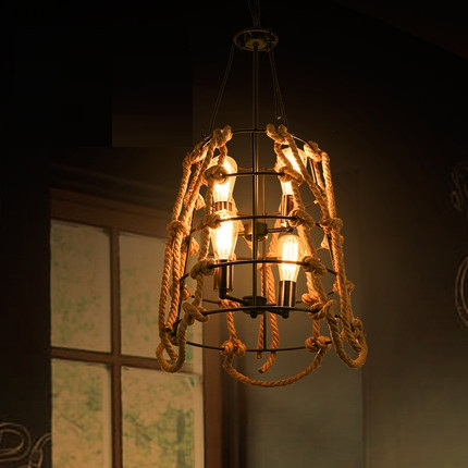 American Loft Style Rope Edison Pendant Light Fixtures For Dining Room Bar Iron Hanging Lamp Vintage Industrial Lighting loft vintage edison glass light ceiling lamp cafe dining bar club aisle t300