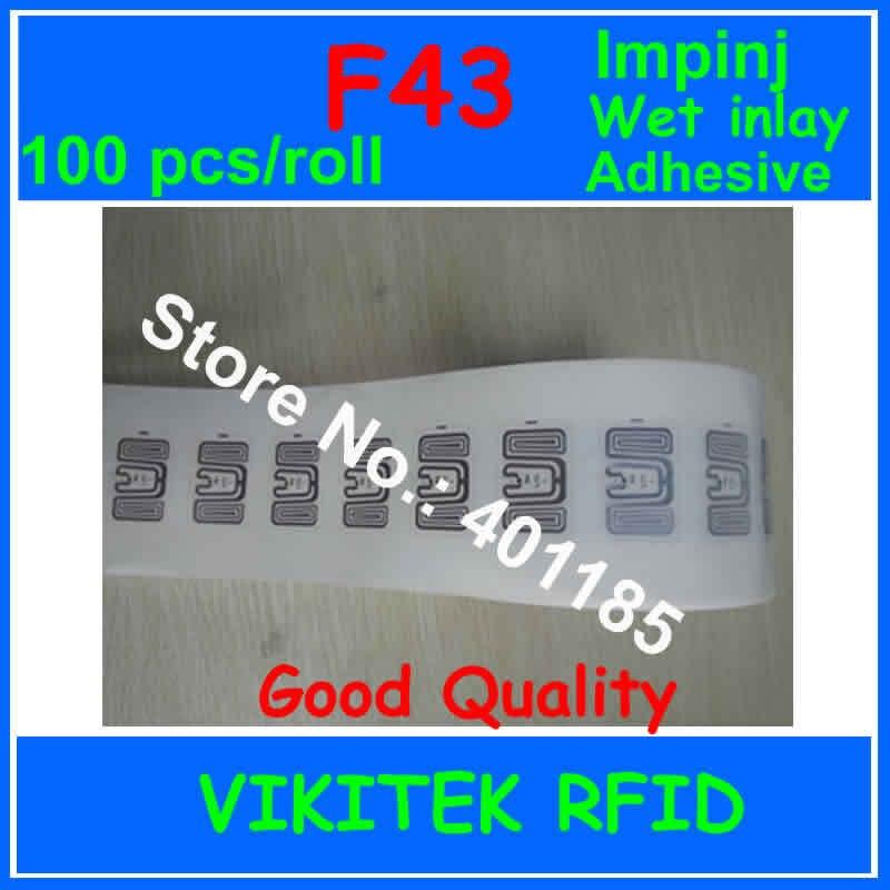 Клей стикер UHF RFID мокрой инкрустация Impinj F43 100 шт. 860-960 МГЦ Monza4 915 М EPC C1G2 ISO18000-6C может быть использован для RFID метки