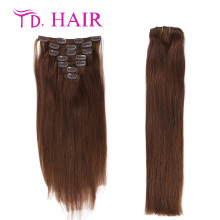 #4 clip in human hair extensions DHL free shipping clip in hair extensions double drawn brazilian straight virgin hair