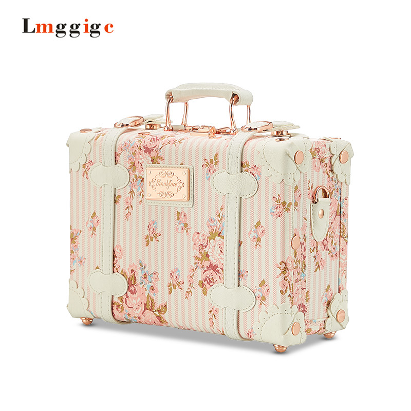 Waterproof Vintage Case Makeup vanity Bag Luggage Small Suitcase Floral Decorative Box with Straps for Women travel aluminum blue dji mavic pro storage bag case box suitcase for drone battery remote controller accessories