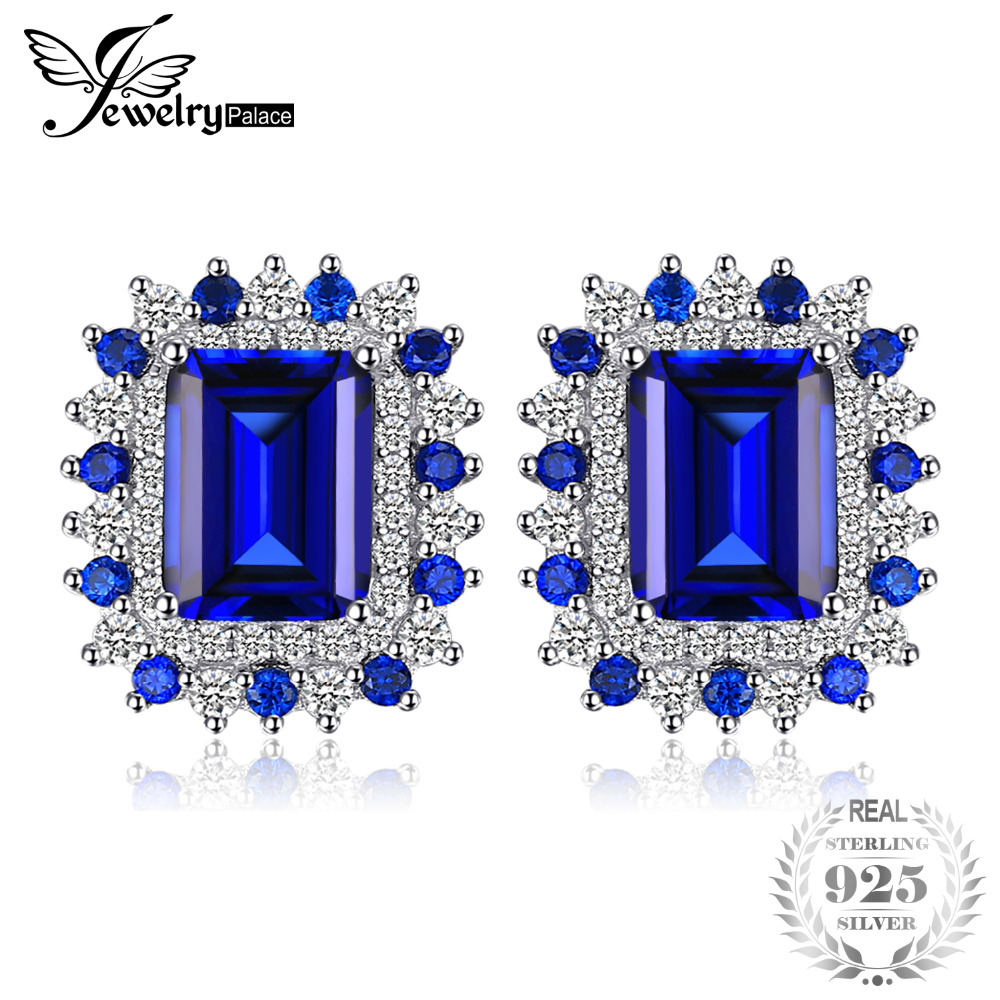 JewelryPalace 4.6ct Square Shape Created Sapphire Studs Earrings 925 Sterling Silver New Fine Jewelry for Women gift for women