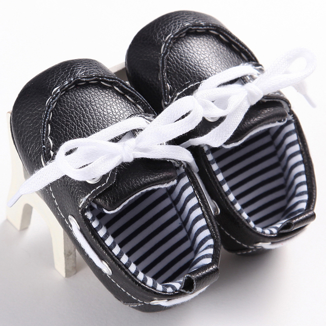 2017 New Lace-up Baby Moccasin Newborn Babies unisex kids Shoes Soft Bottom PU leather Prewalkers Boots First Walkers 11-13cm