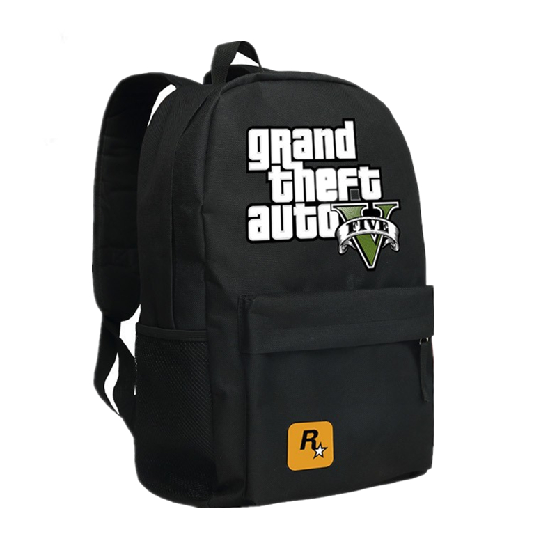 2017 New Game Grand Theft Auto V GTA5 Printing black Canvas Oxford Men's backpacks school bags fashion backpack Leisure Bags