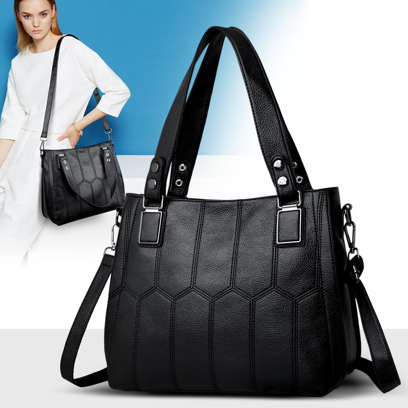 High Quality Women Bag Large Capacity Leather Handbags For Ladies Big Shoulder Crossbody Bag Striped Casual Tote Messenger Bags canvas striped women messenger bags high quality casual tote big handbag school shoulder bag with long belt bolsas