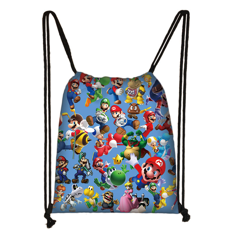 Bags Backpack Drawstring Sonic Mario Bros Cartoon Shoulder-Bag Travel-Storage-Pouch Teenagers