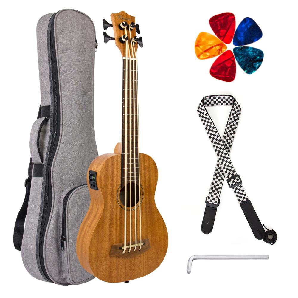 Kmise Electric Ukulele Bass Ubass Ukulele Baritone 30 Inch Baritono GDAE W/ Gig Bag Strap Picks Regulating Stem