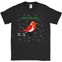 Red Crested Robin In Snow Holding Holly Berries Mens T Shirtfashionable 100%cotton Printed Round Neck